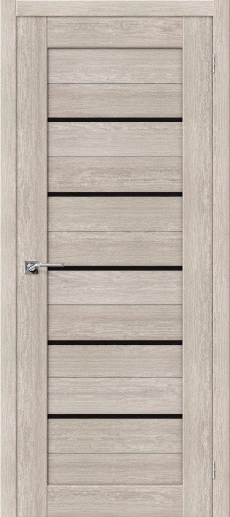 Дверь межкомнатная из эко шпона ElPorta Порта-22 черное стекло — Дверимаркт