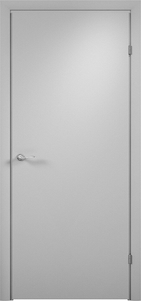 Финская строительная офисная дверь гладкая Серая с установленной фурнитурой — Дверимаркт