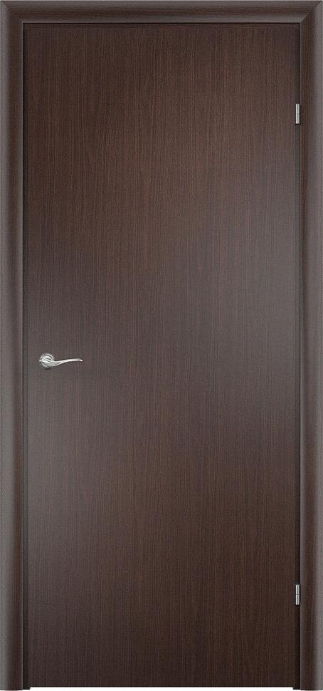 Финская строительная офисная дверь гладкая Венге с установленной фурнитурой — Дверимаркт