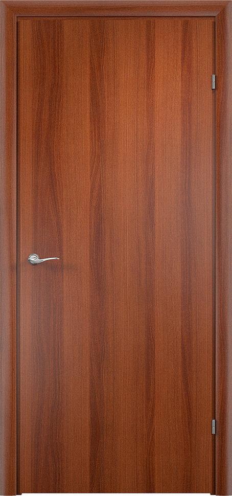 Финская строительная офисная дверь гладкая Итальянский орех с установленной фурнитурой — Дверимаркт